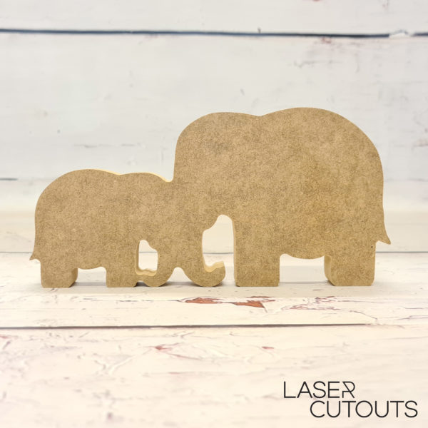 Freestanding Mother/Father & Baby Elephant
