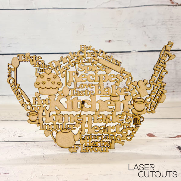 Kitchen word art in the shape of a teapot