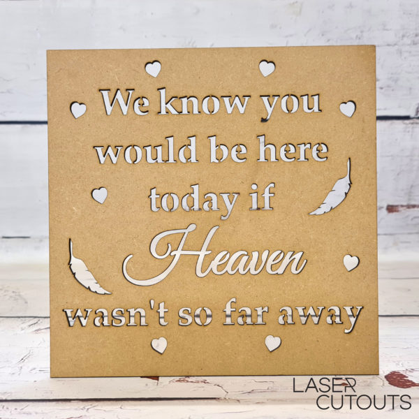 Framed Quote – We know you would be here today if heaven wasn't so far away