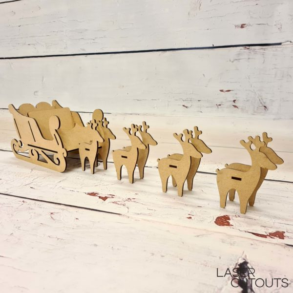 3d Santa Sleigh with four sets of standing Reindeer